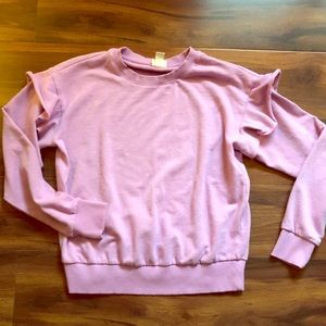 Cute Lavender/Lilac Purple Ruffle Sweatshirt